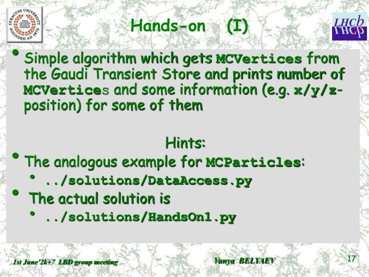 Hands-on   (I)