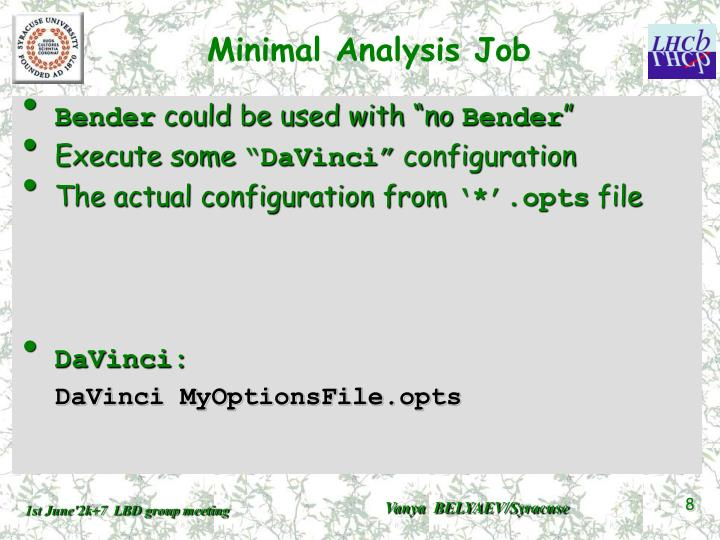 Minimal Analysis Job