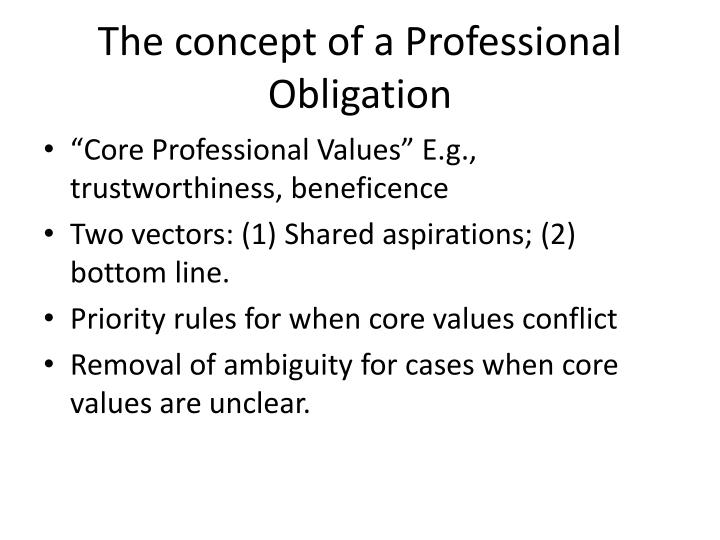 The concept of a Professional Obligation