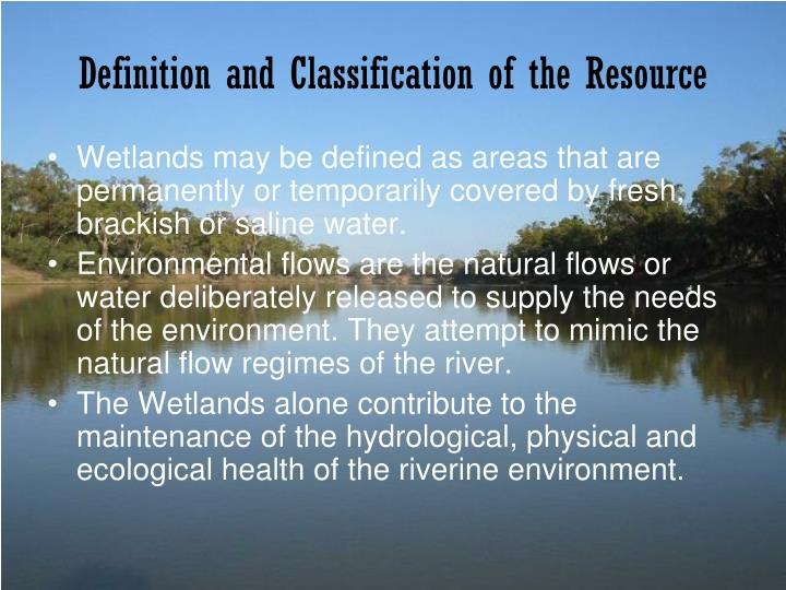 Definition and classification of the resource