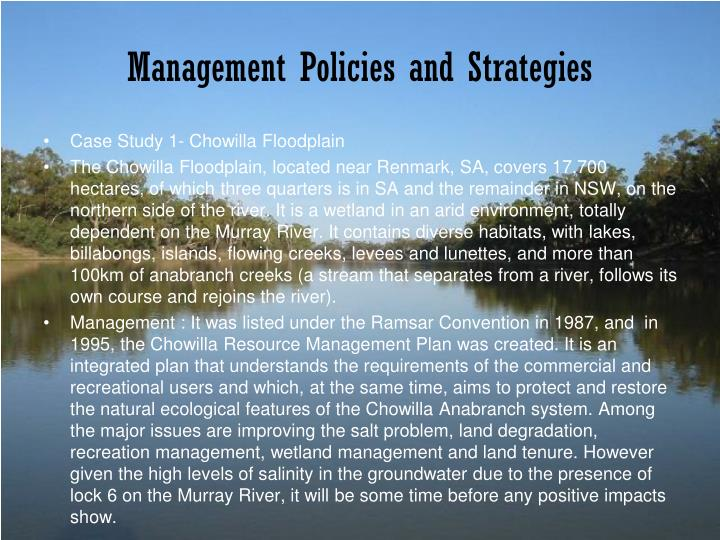 Management Policies and Strategies