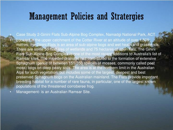 Management Policies and Stratergies