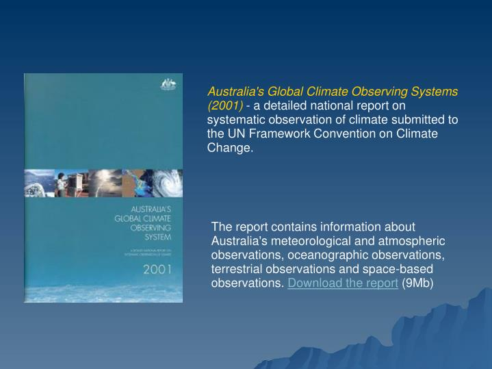Australia's Global Climate Observing Systems (2001)