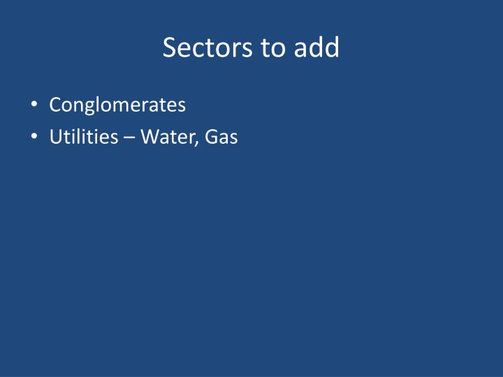 Sectors to add
