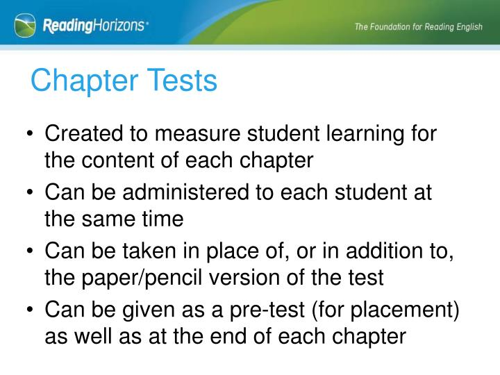 Chapter Tests