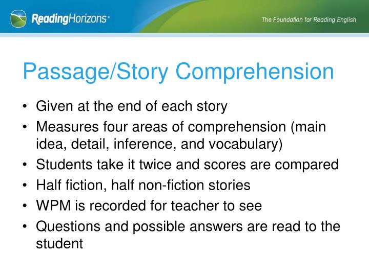Passage/Story Comprehension
