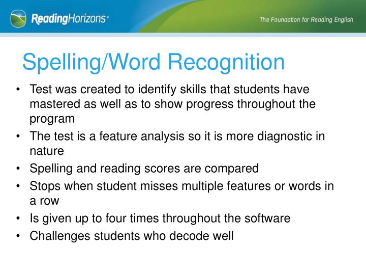 Spelling/Word Recognition