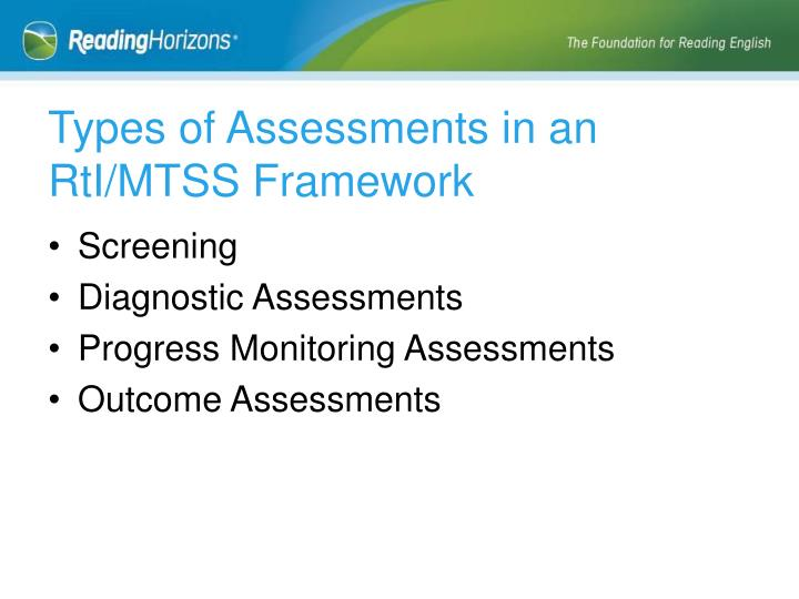 Types of Assessments in an RtI/MTSS Framework