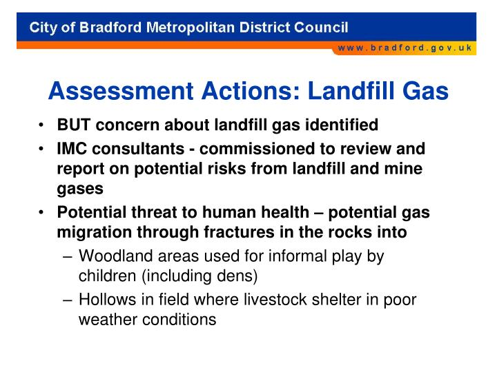 Assessment Actions: Landfill Gas