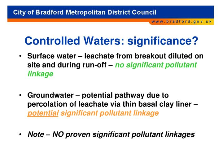Controlled Waters: significance?