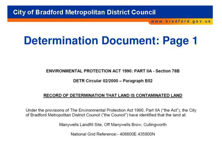 Determination Document: Page 1