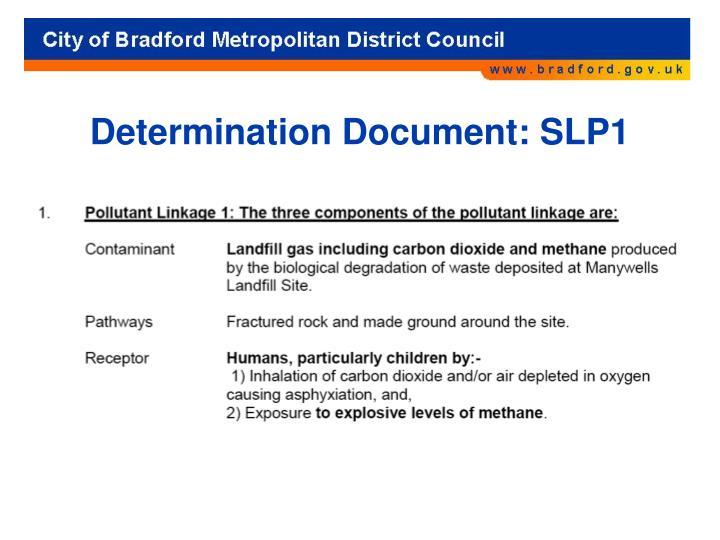 Determination Document: SLP1