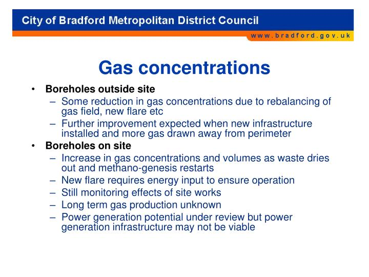 Gas concentrations