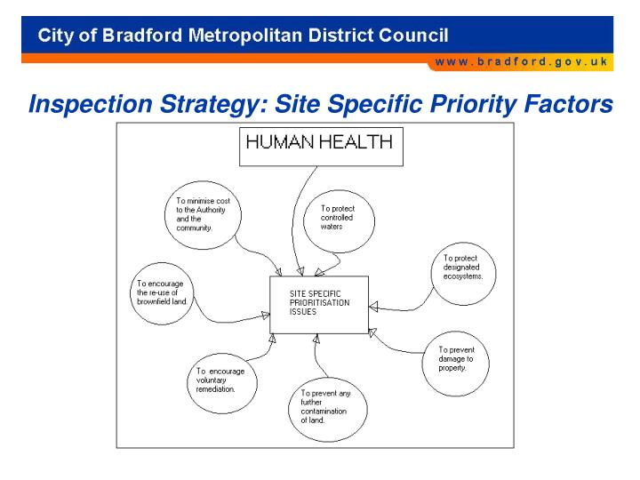 Inspection Strategy: Site Specific Priority Factors