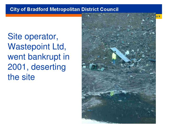 Site operator, Wastepoint Ltd, went bankrupt in 2001, deserting the site