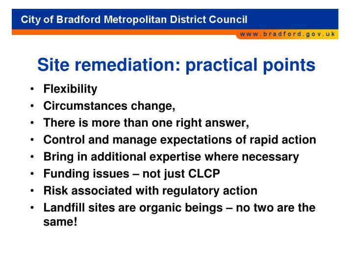 Site remediation: practical points