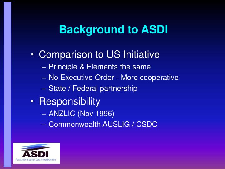 Background to ASDI