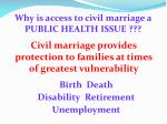 why is access to civil marriage a public health issue
