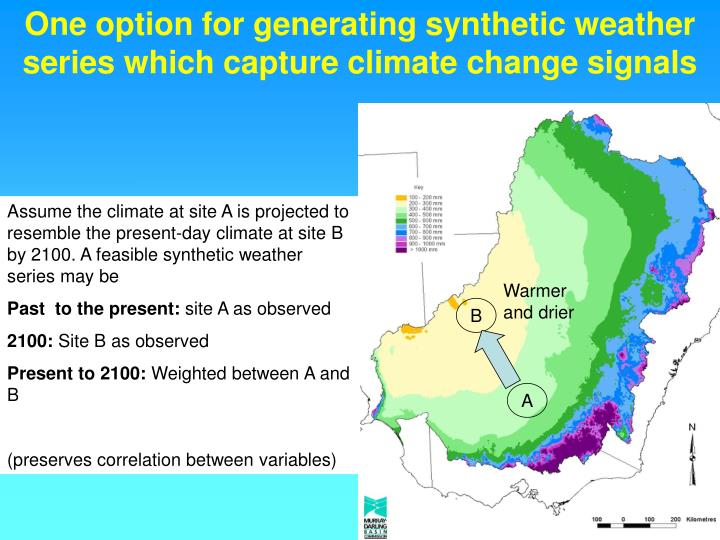 One option for generating synthetic weather series which capture climate change signals