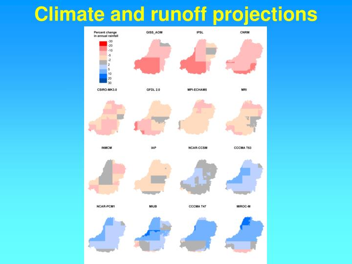 Climate and runoff projections