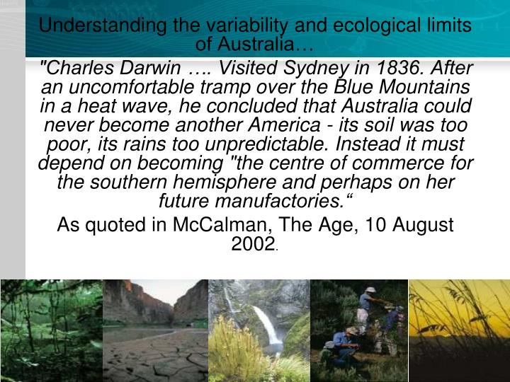 Understanding the variability and ecological limits of Australia…