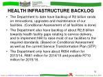 health infrastructure backlog