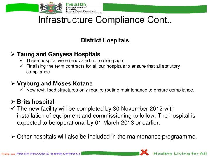 Infrastructure Compliance Cont..