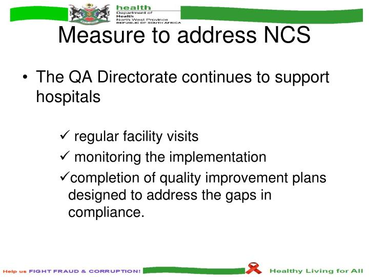 Measure to address NCS