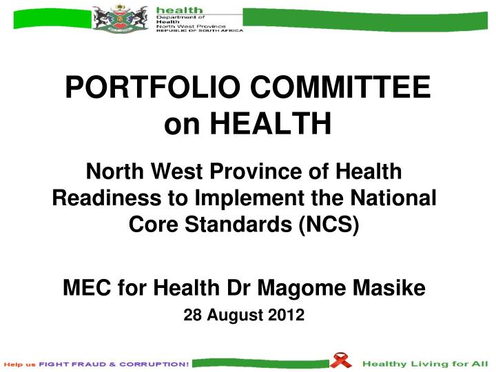 Portfolio committee on health