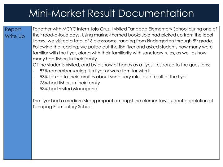 Mini-Market Result Documentation