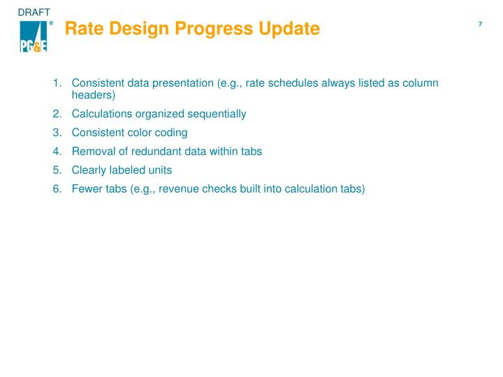 Rate Design Progress Update