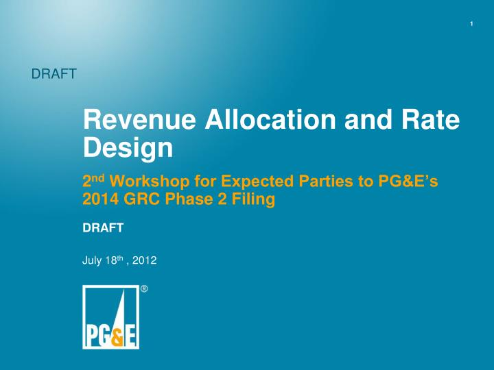 Revenue allocation and rate design