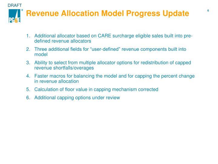Revenue Allocation Model Progress Update