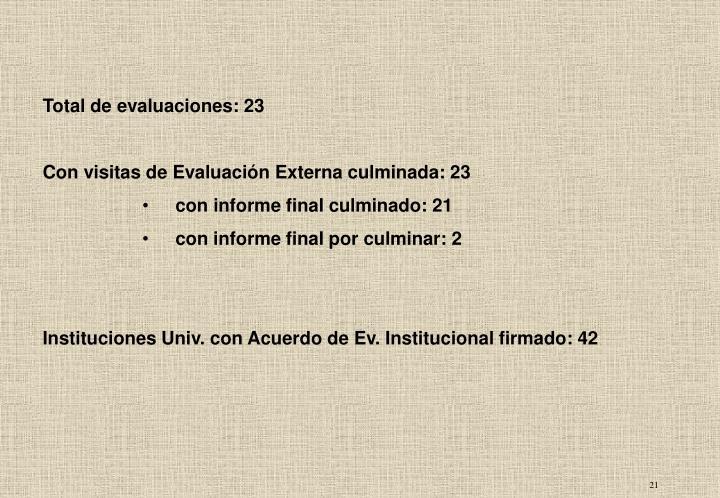 Total de evaluaciones: 23
