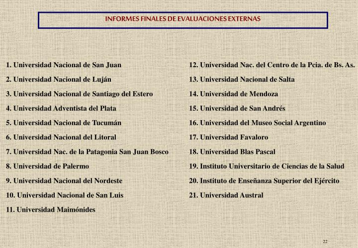INFORMES FINALES DE EVALUACIONES EXTERNAS
