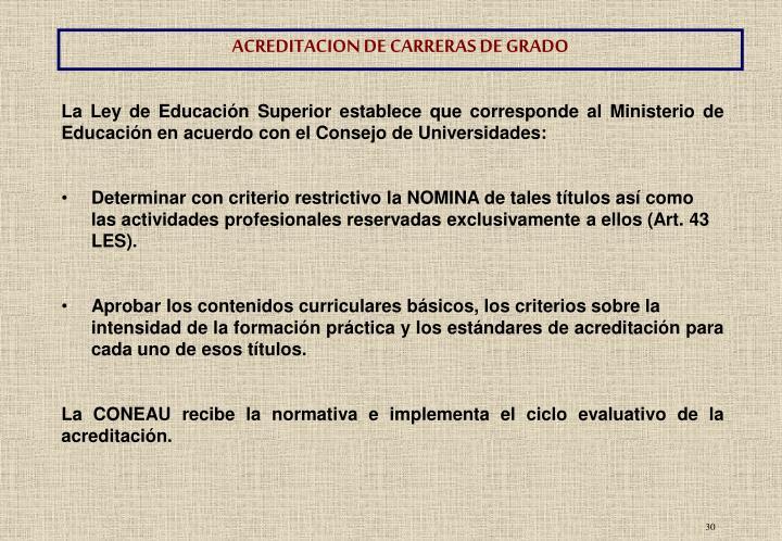 ACREDITACION DE CARRERAS DE GRADO