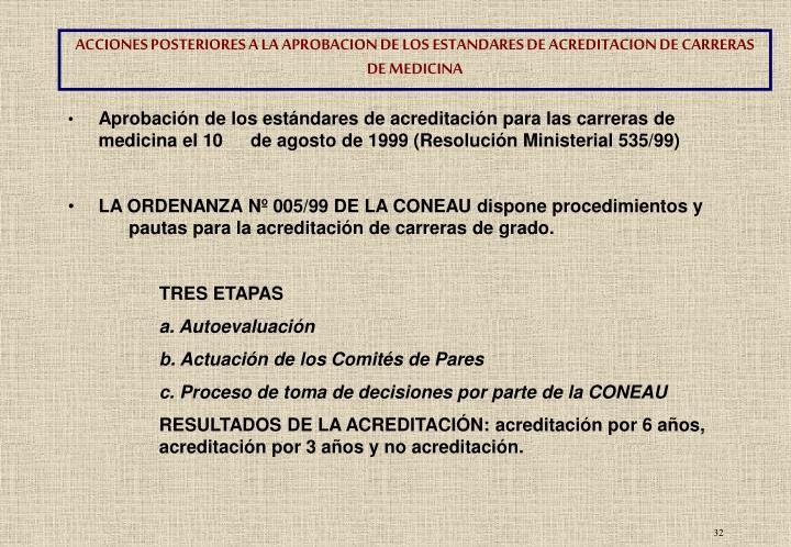 ACCIONES POSTERIORES A LA APROBACION DE LOS ESTANDARES DE ACREDITACION DE CARRERAS DE MEDICINA
