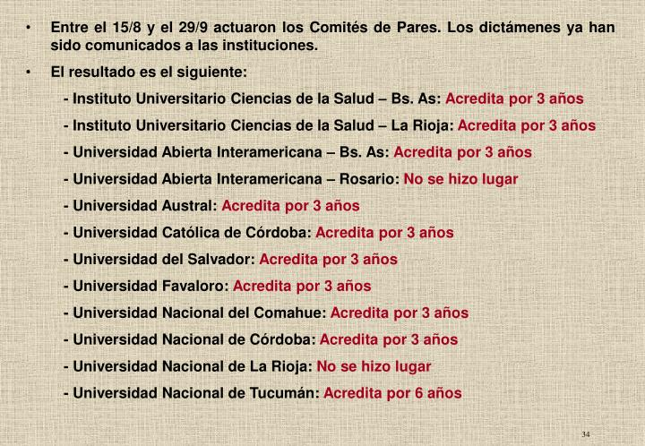 Entre el 15/8 y el 29/9 actuaron los Comités de Pares. Los dictámenes ya han sido comunicados a las instituciones.
