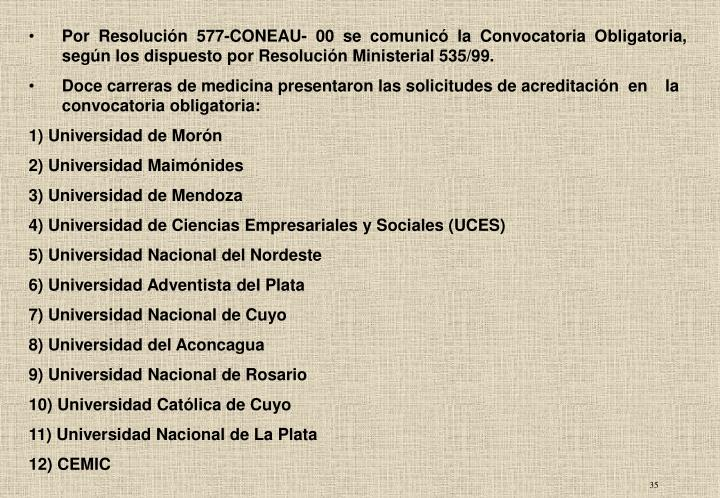 Por Resolución 577-CONEAU- 00 se comunicó la Convocatoria Obligatoria, según los dispuesto por Resolución Ministerial 535/99.