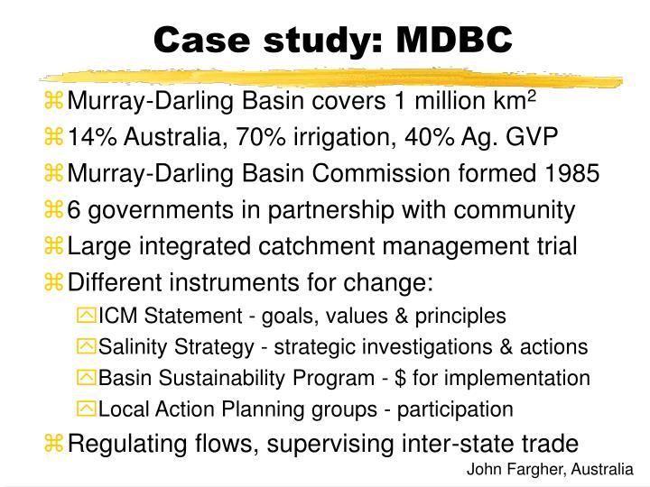 Case study: MDBC