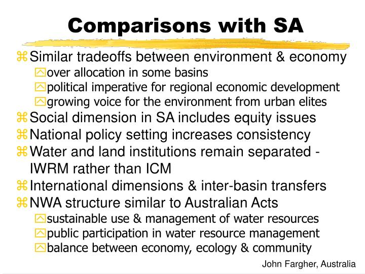 Comparisons with SA