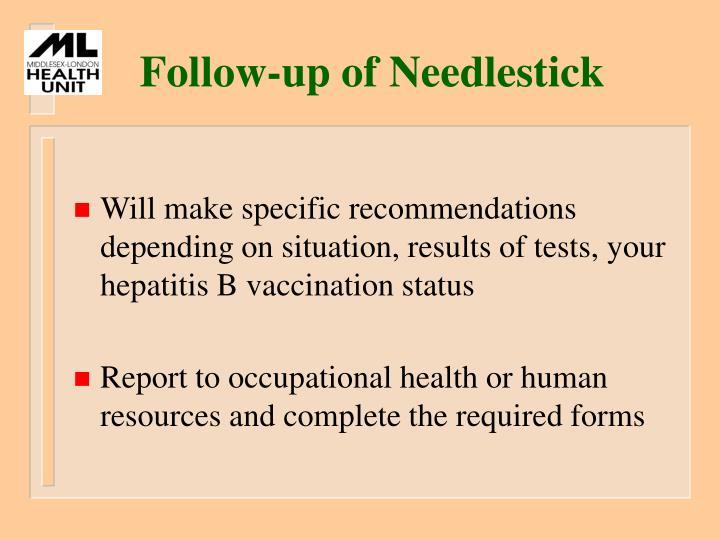 Follow-up of Needlestick