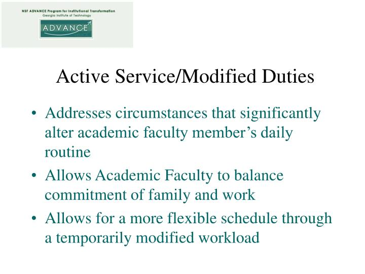 Active service modified duties