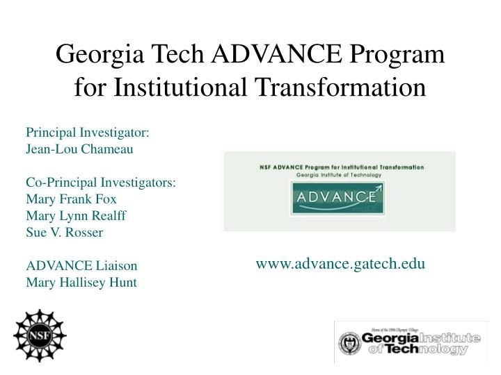 Georgia Tech ADVANCE Program for Institutional Transformation