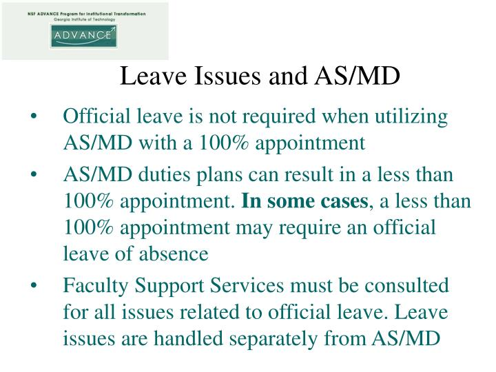 Leave Issues and AS/MD