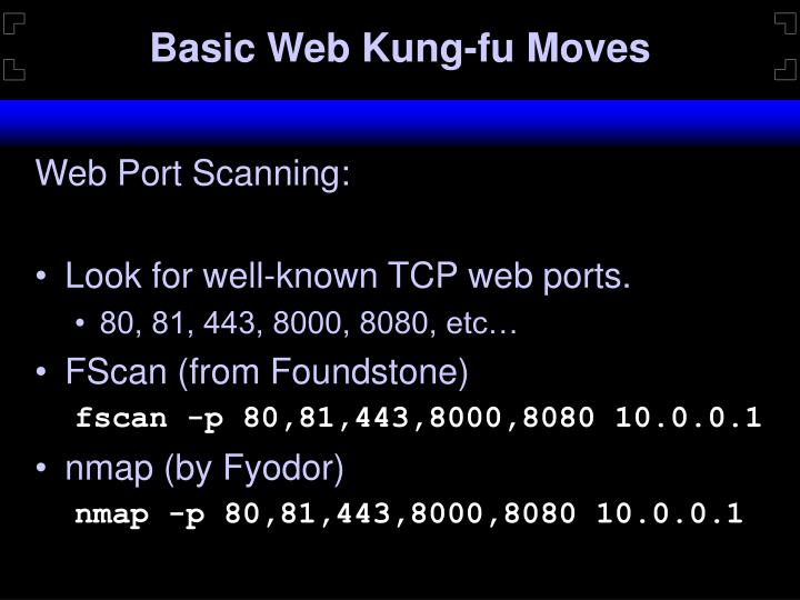 Basic Web Kung-fu Moves