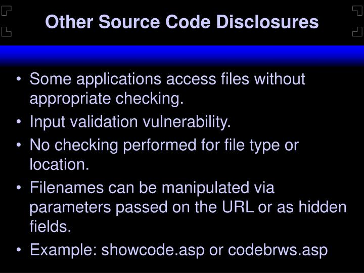Other Source Code Disclosures
