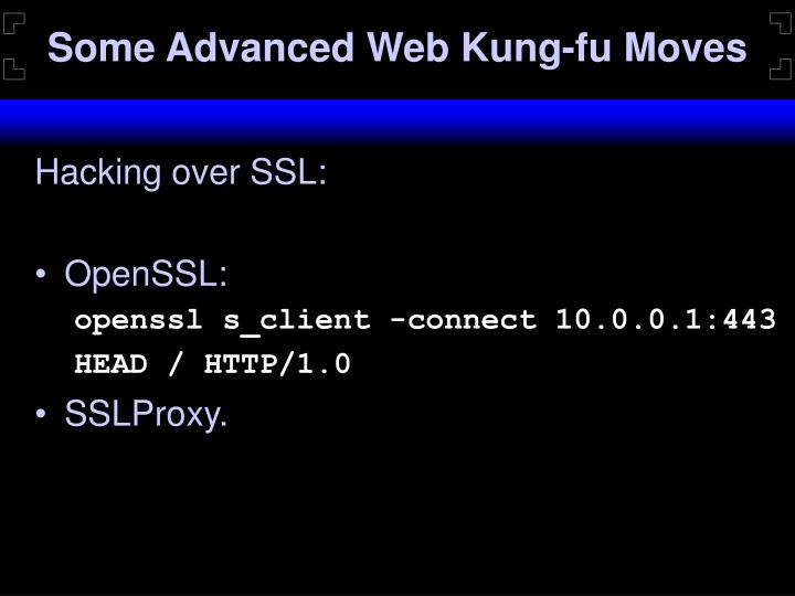 Some Advanced Web Kung-fu Moves