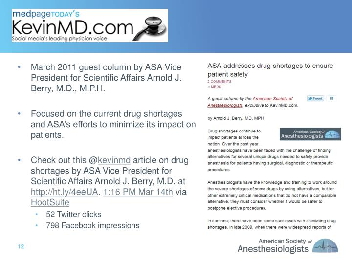 March 2011 guest column by ASA Vice President for Scientific Affairs Arnold J. Berry, M.D., M.P.H.