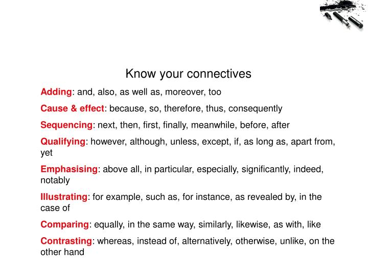 Know your connectives